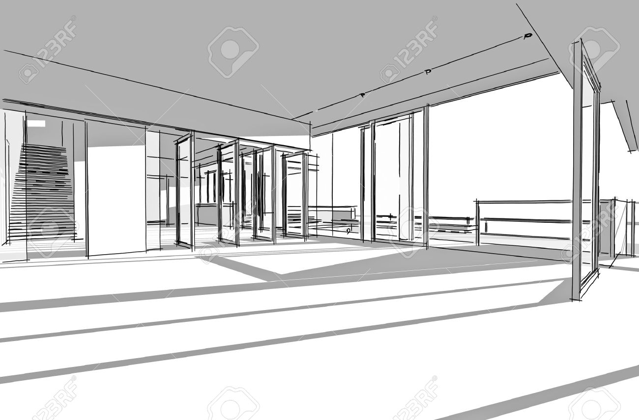 architectural drawing interior project by hand sketch style generated by computer stock photo