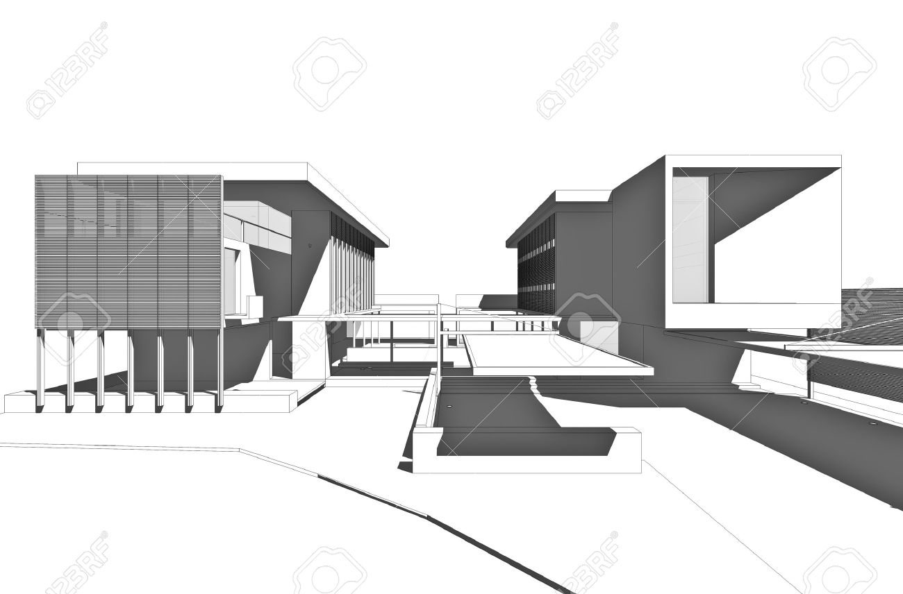 Architectural drawing generated by computer stock photo picture