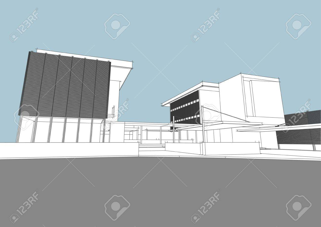 architectural concept generated by computer Stock Vector - 9817976