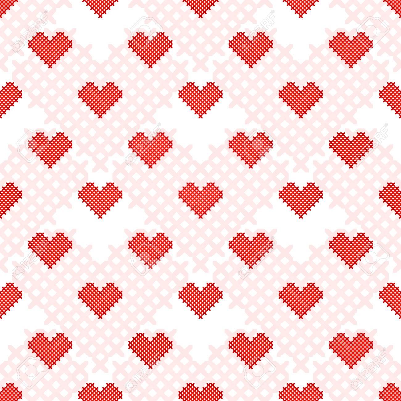 Corazón Rojo Patrón Transparente. Punto De Cruz. Artesanía Y ...