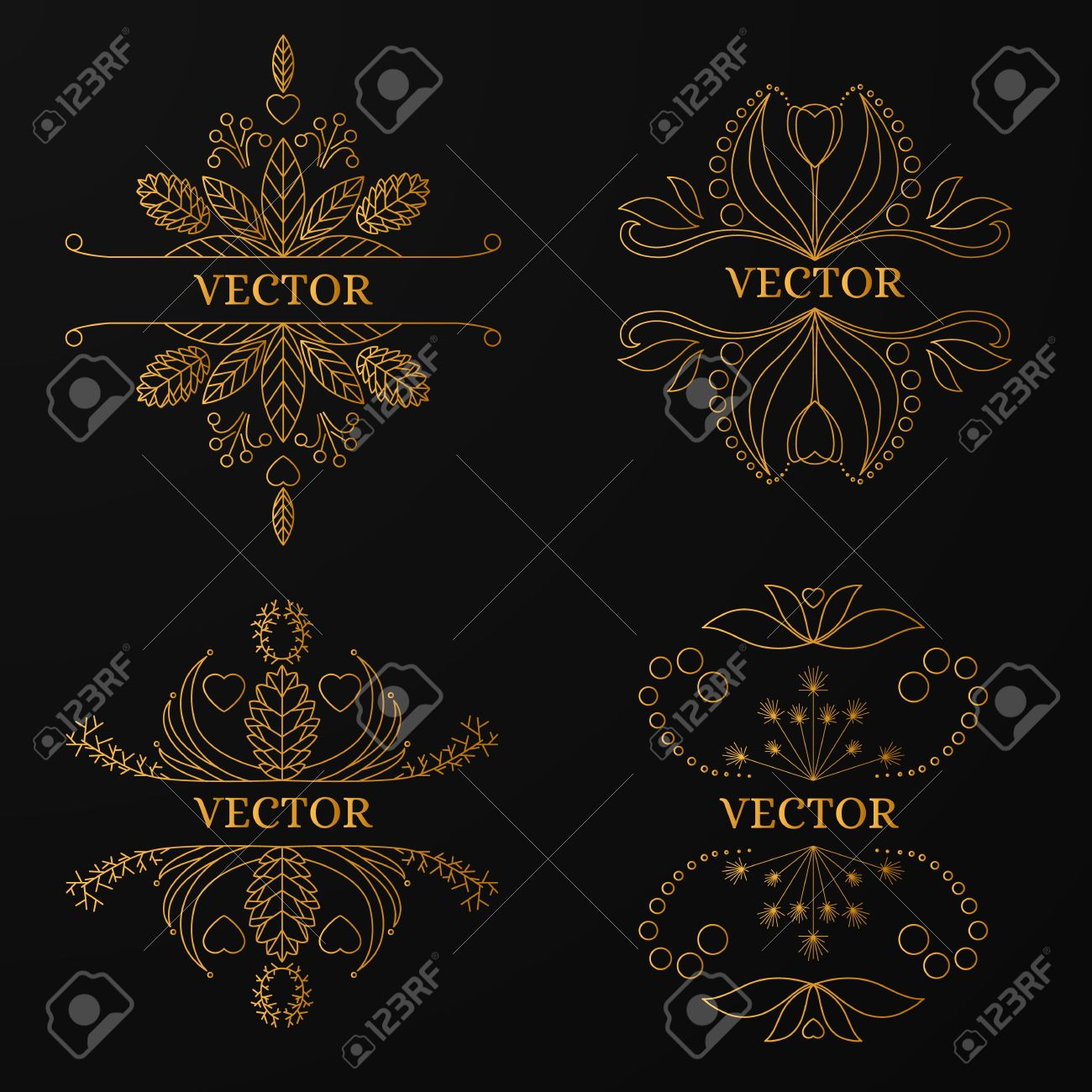 Linear Gold Frame On Black Background. Luxury Ornamental Template ...