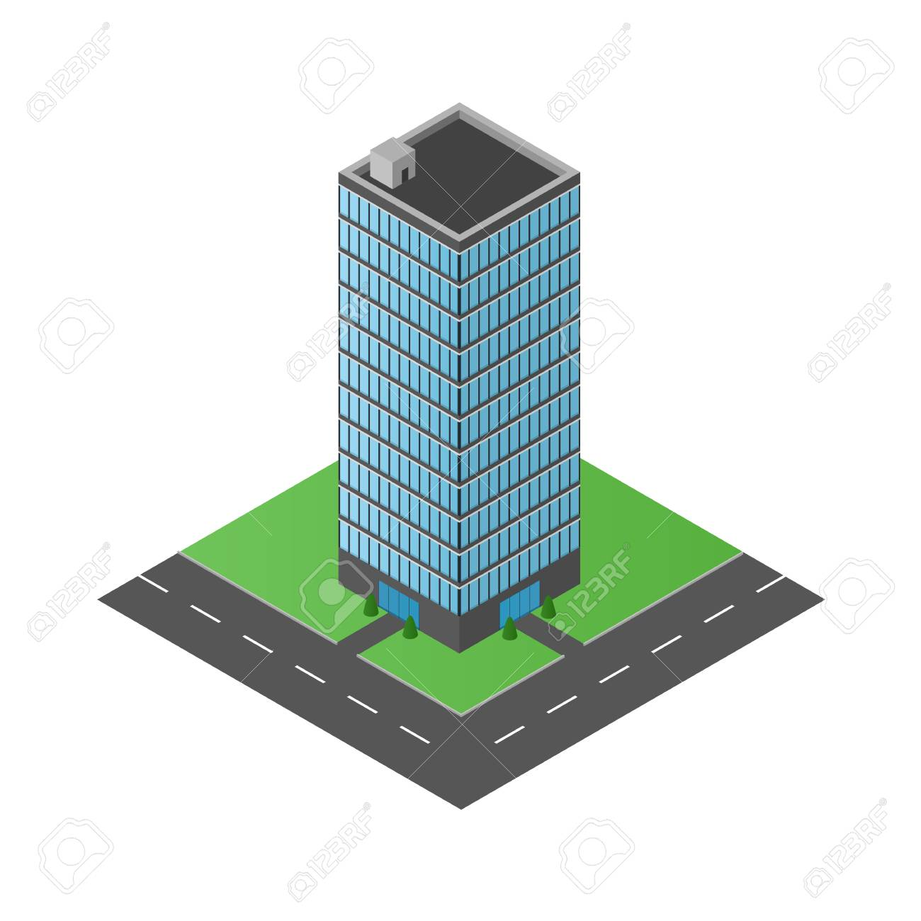 the office centre. High Glass Building. The Office Center. Business Multi-storey Structure. Centre M
