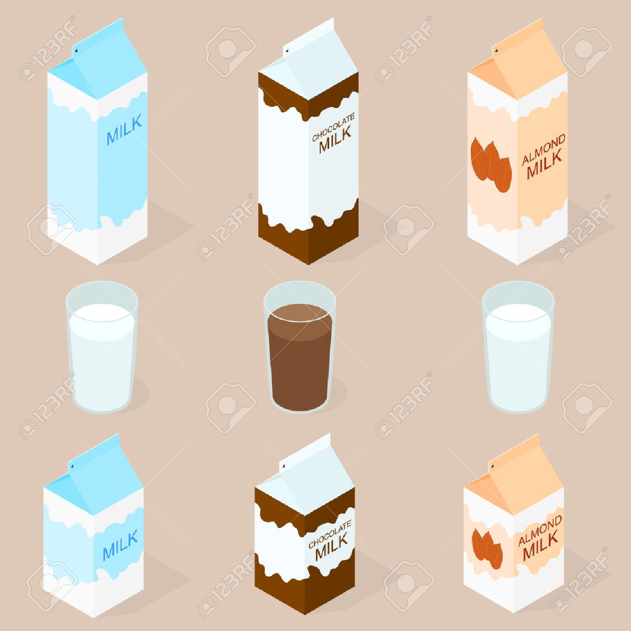 Package of almond milk, chokolate milk and cow milk. The isometry. The glass of milk. Vegan and vegetarian food. Natural product. Healthy food. Milkshake in a glass. Big and small box. Vector illustration. - 54501253