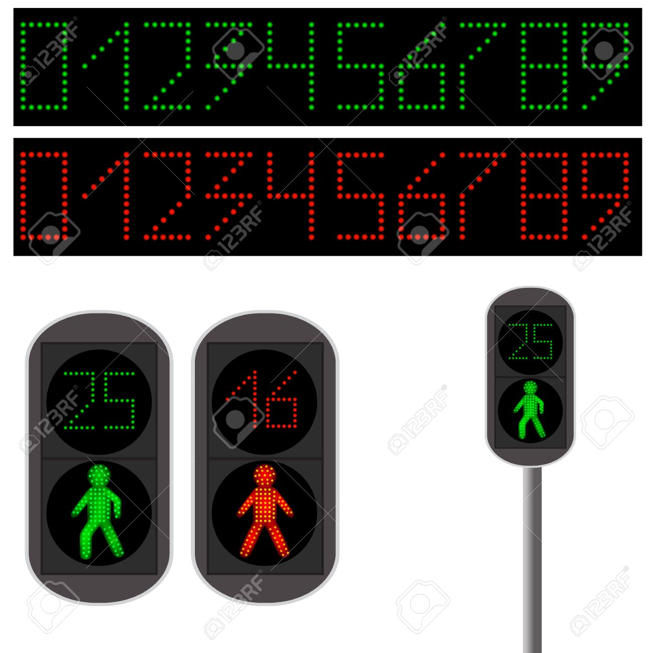 Pedestrian Traffic Light. Led Backlight. Red And Green Led Digits ... for pedestrian traffic light clipart  67qdu