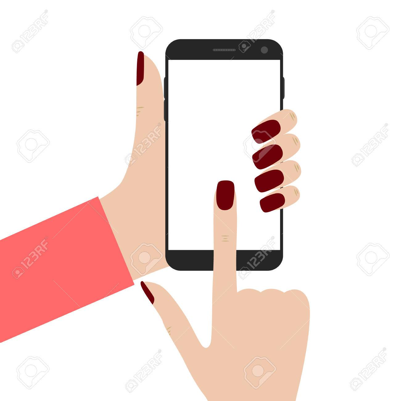 Mobile phone in the hands of women. Women s fingers. Black smartphone.  Blank touch d08e0170f1
