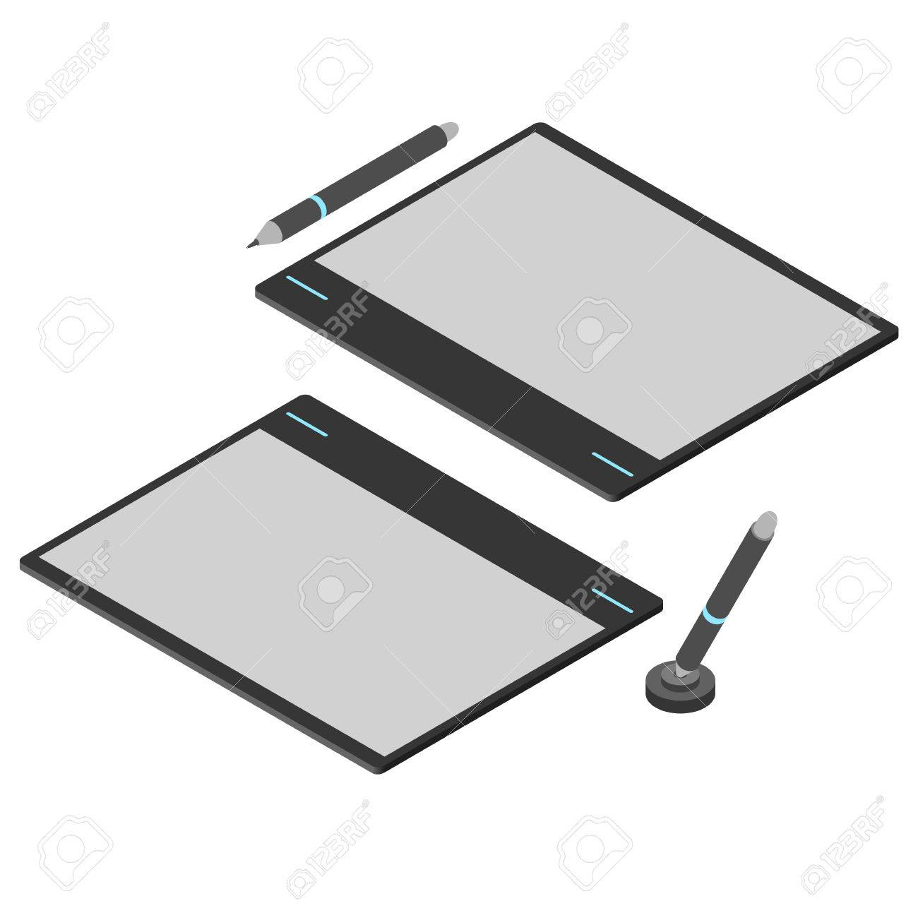 Graphics Tablet. Flat Isometric. Drawing Tool For A Computer ...