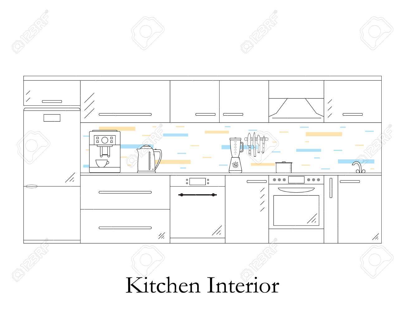 Interior de la cocina. estilo lineal. Fondo blanco. Cocina muebles de  diseño y accesorios. cafetera, hervidor de agua y una licuadora. La olla en  la ...