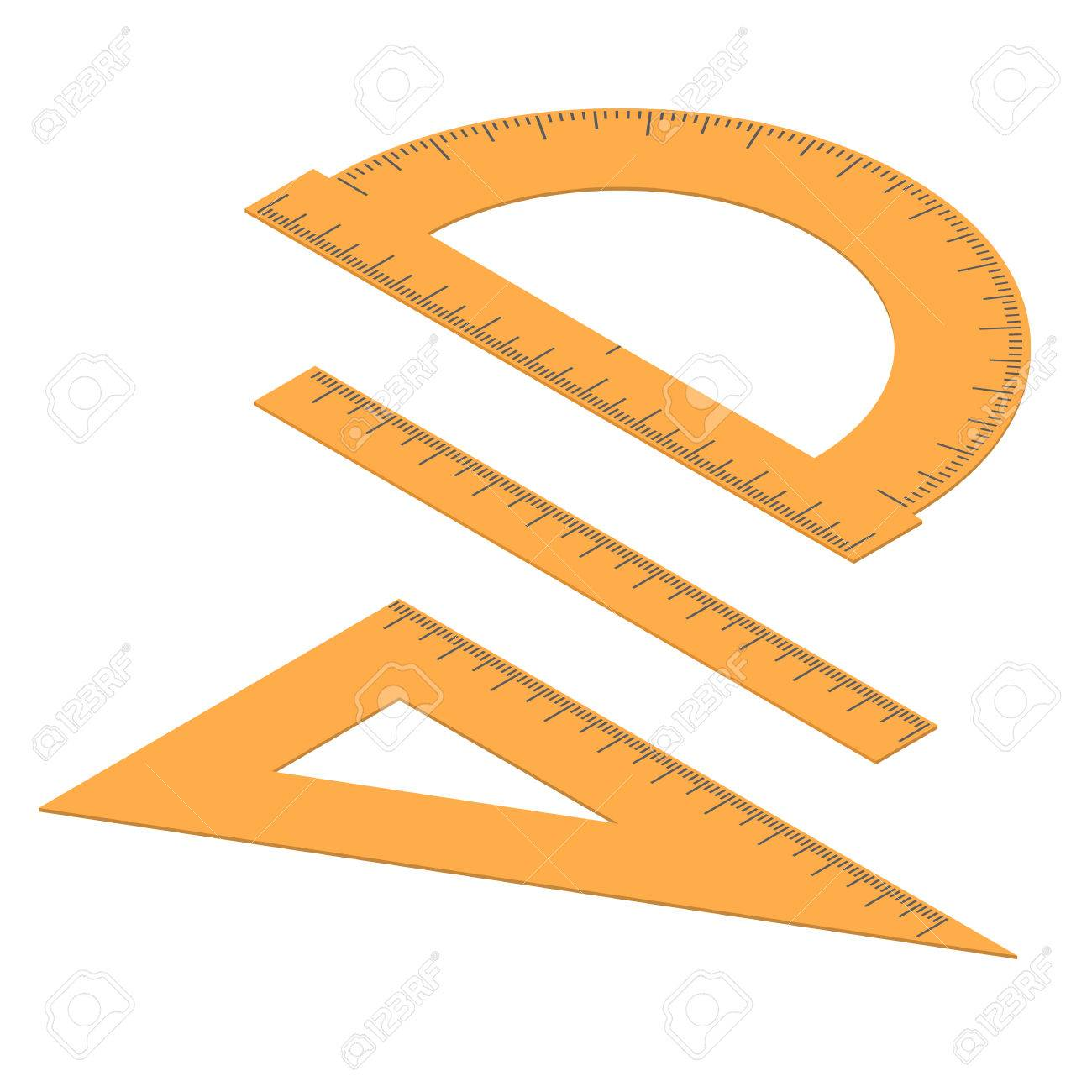 Set of lines  Straight and angular ruler and protractor  Tool