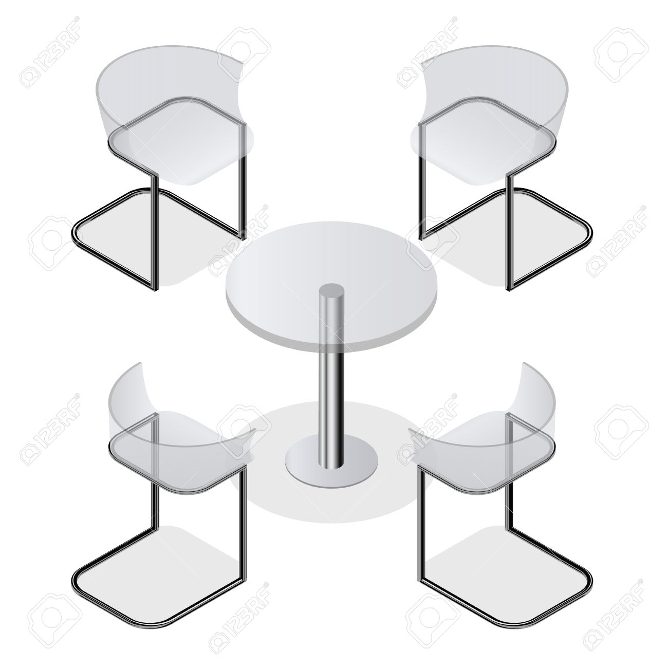 Set Of Transparent Isometric Chairs And A Round Table For The ...
