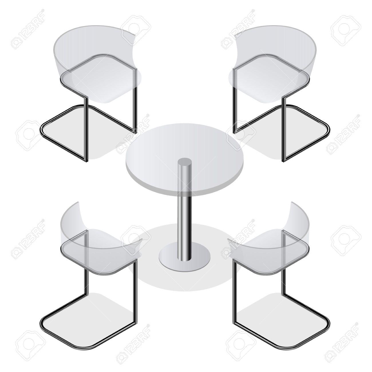 Transparante Design Stoelen.Set Van Transparante Isometrische Stoelen En Een Ronde Tafel Voor De Keuken Interieur Ruimte Cafe Of Restaurant Modern Fashion Design Geisoleerd