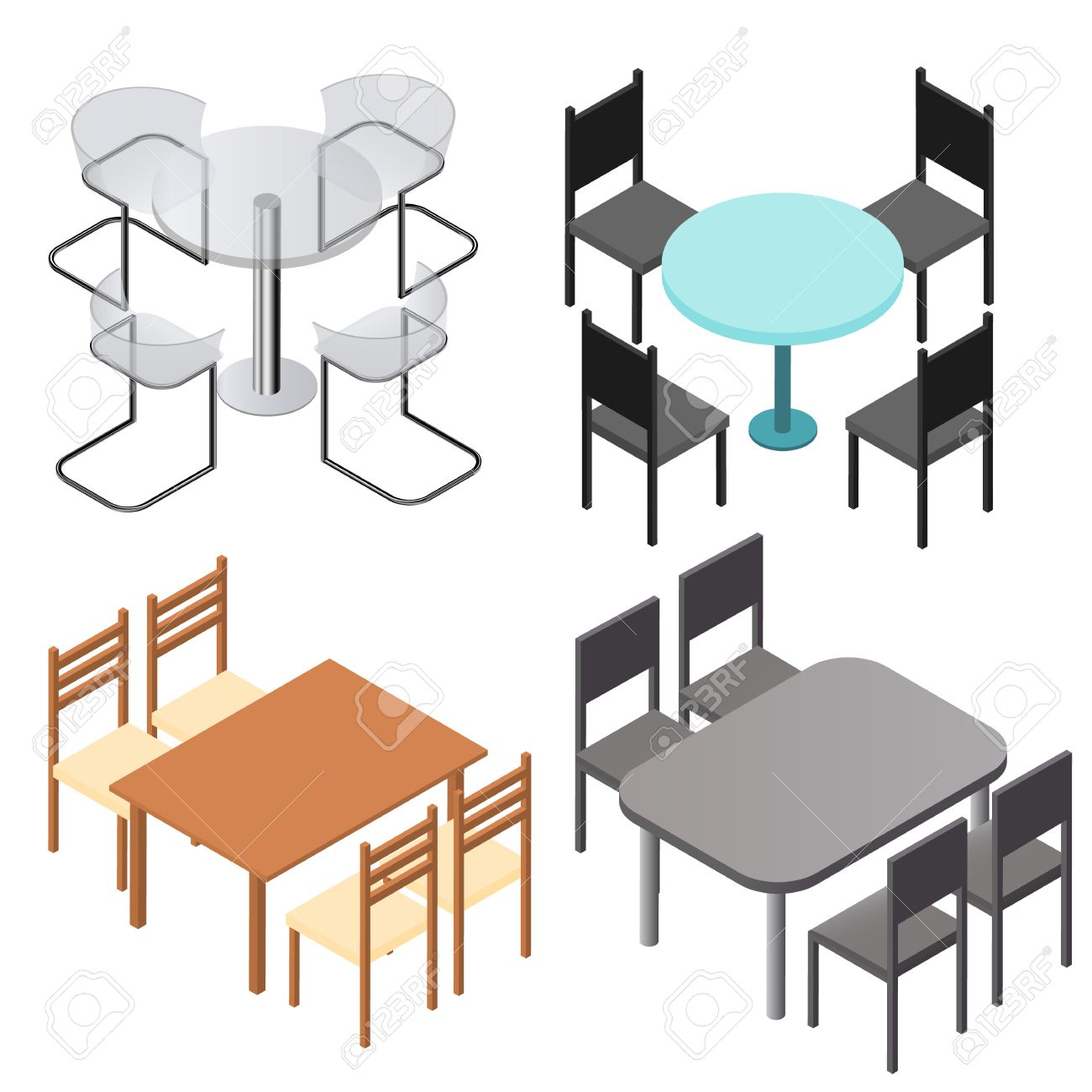 Set Of Chairs And And Tables. Flat Isometric. Wood Products ...