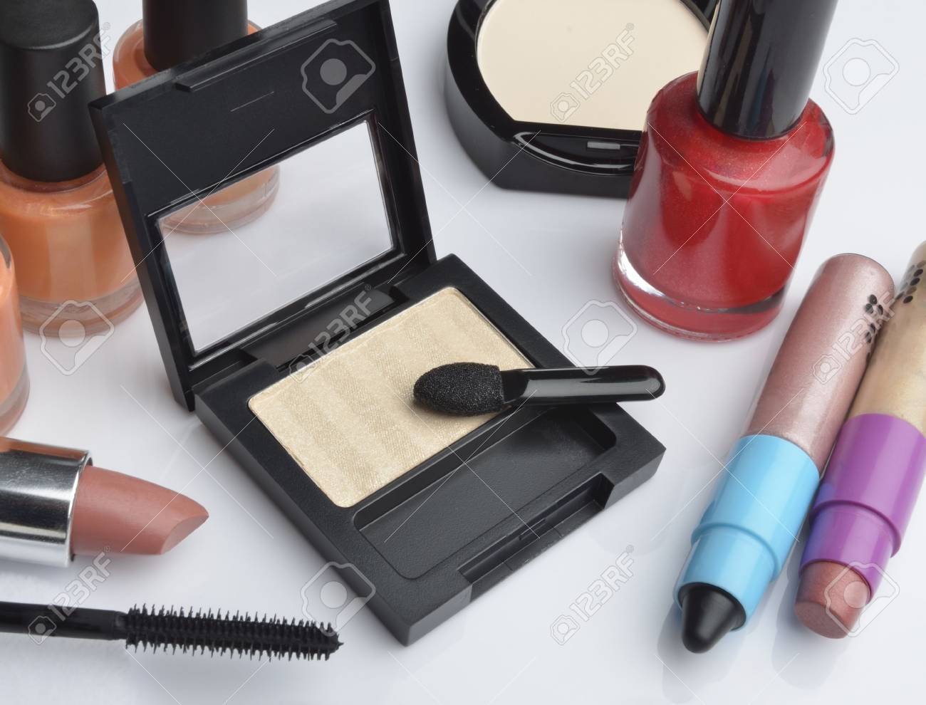 Make-up cosmetics on white background Stock Photo - 20926032