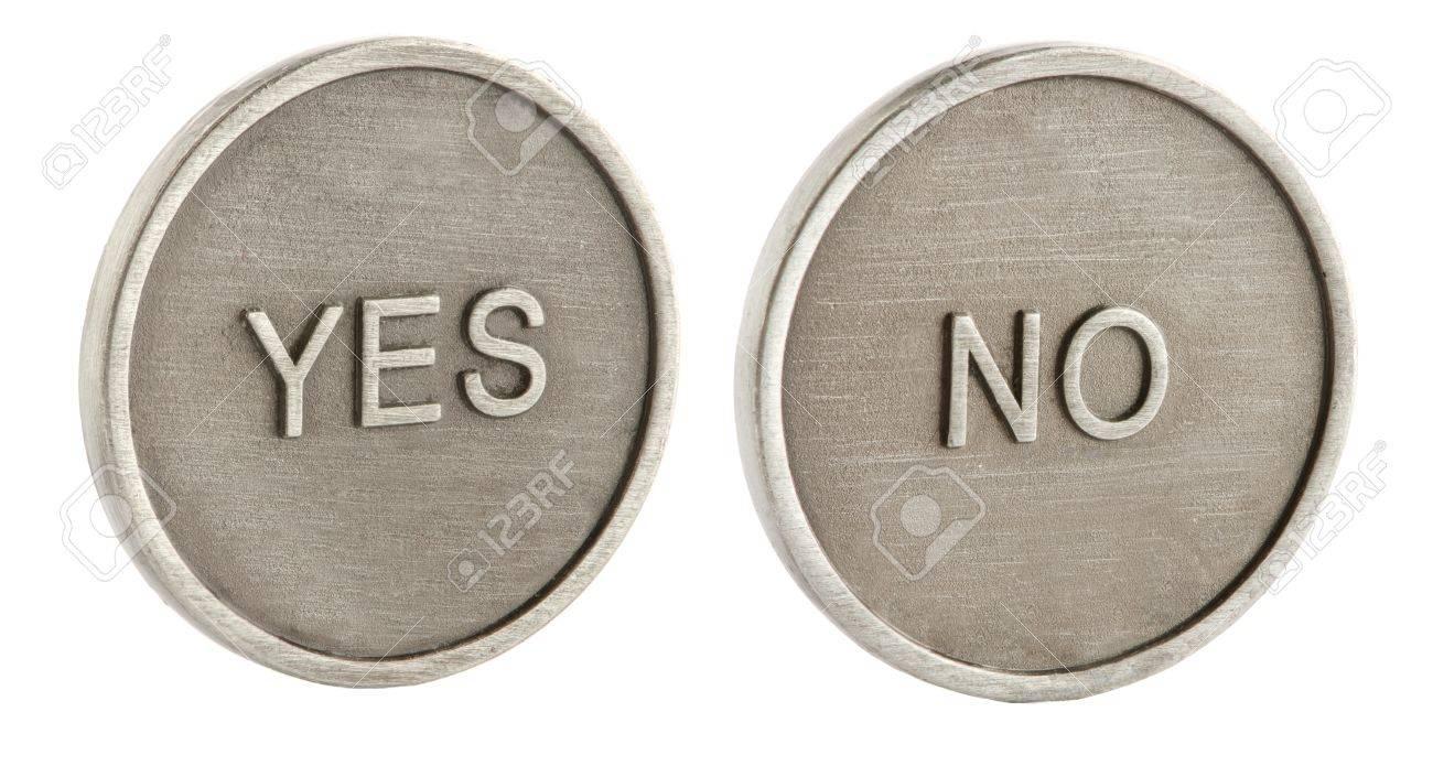 Zwei Gesichter Einer Münze Ja Und Nein Lizenzfreie Fotos Bilder
