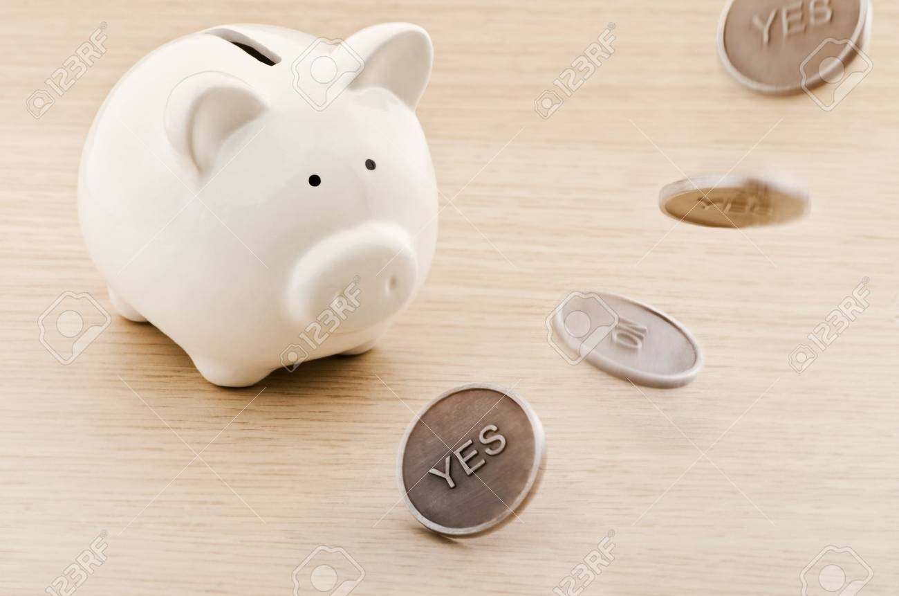 Piggy bank looking to a flipping coin Stock Photo - 21524681