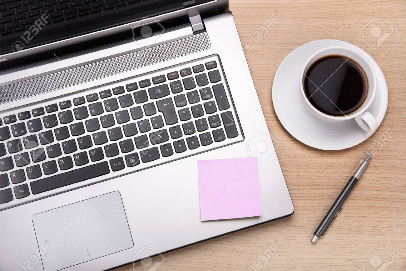 office work desks. office desk work coffeelaptop and post it on stock photo 34541041 desks k