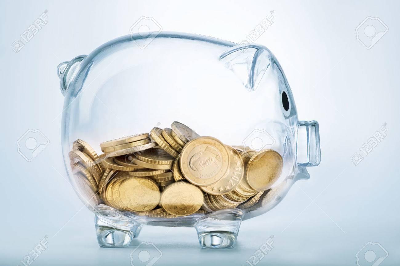 A see through piggy bank with money coins - 52519476