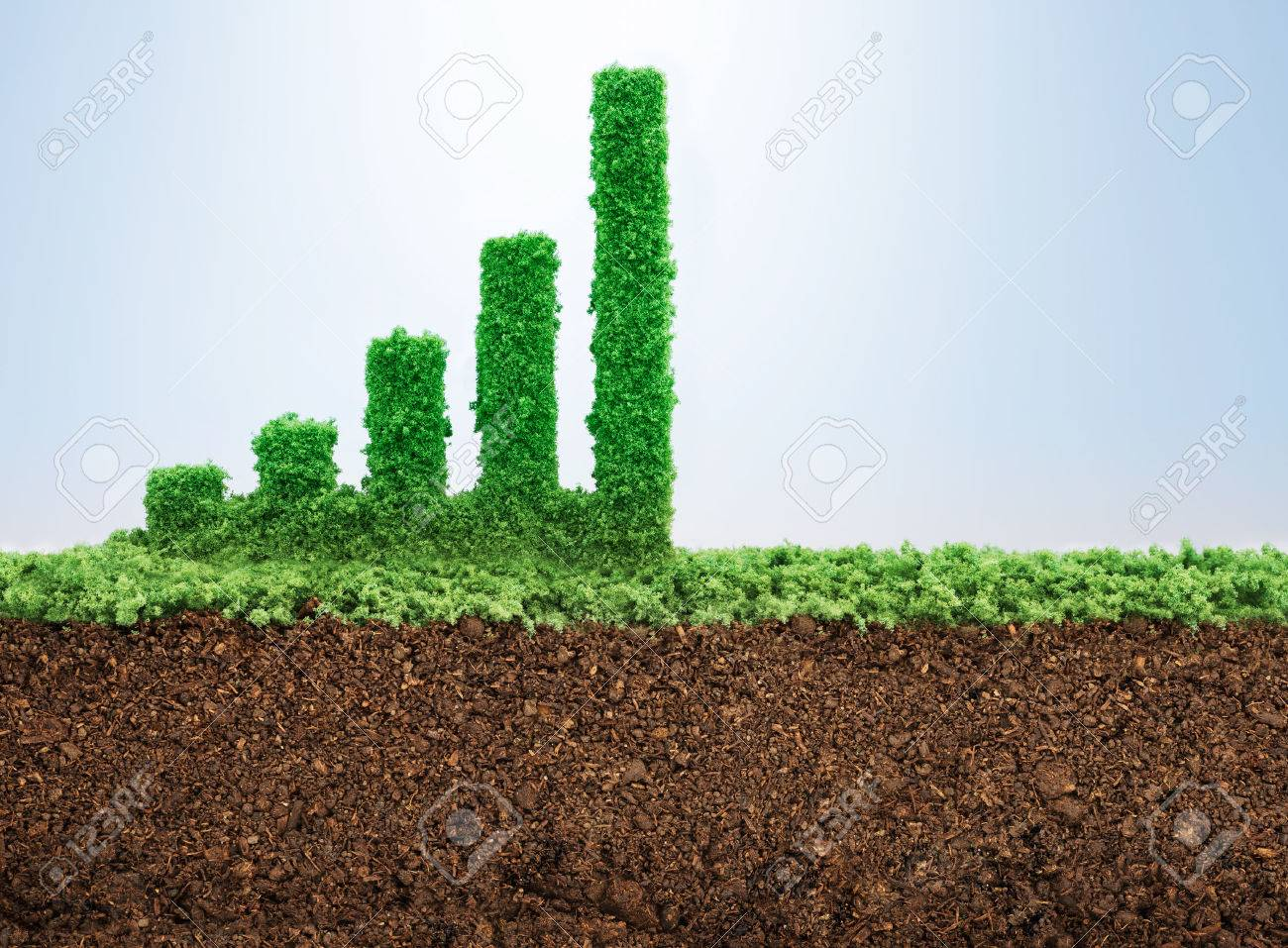 Business growth concept with grass growing in shape of graphic bar - 52519600