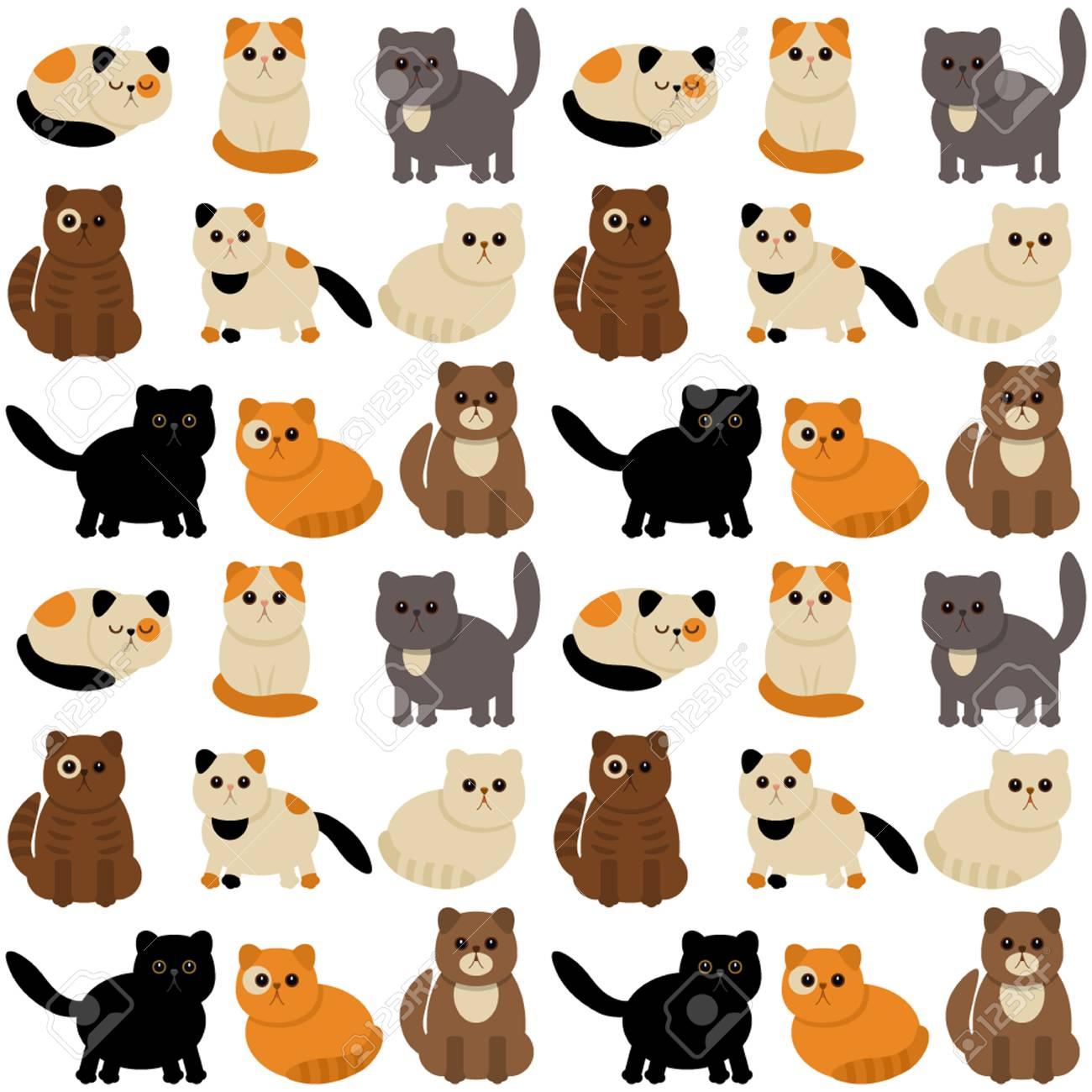 Personajes Divertidos Gatos Lindos En Estilo De Dibujos Animados. Un ...