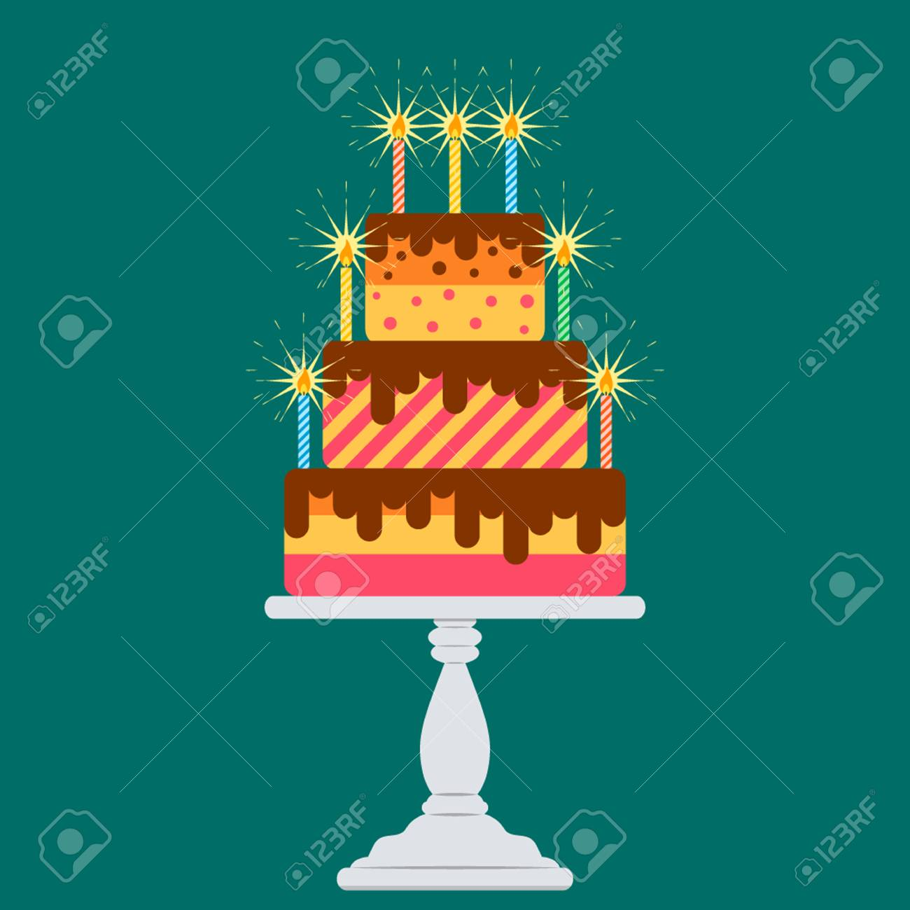Big Cake With Candles On The Table Flat Vector Illustration Stock