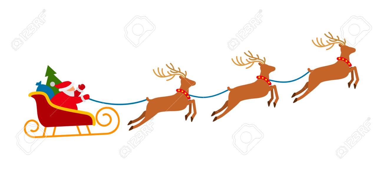 Super Kerstman Op Slee En Zijn Rendieren Geïsoleerd Op Witte Achtergrond BX-84