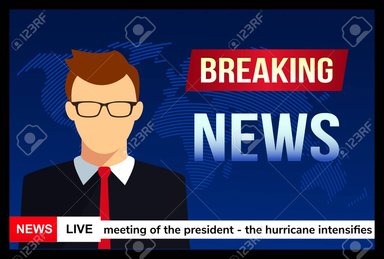 News Anchor On TV Breaking Background Stock Vector