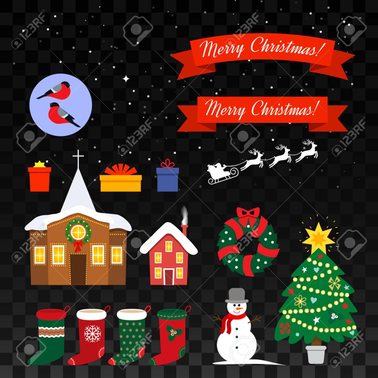 Big Set Of Christmas Symbols For Web Design And Greeting Cards