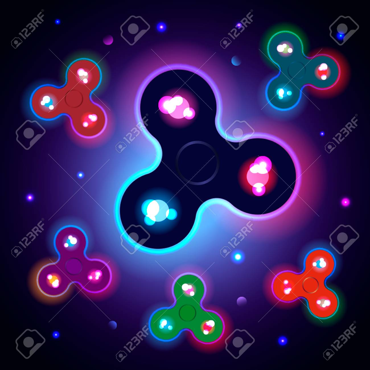 Finger Spinner Glows In The Dark Stock Vector