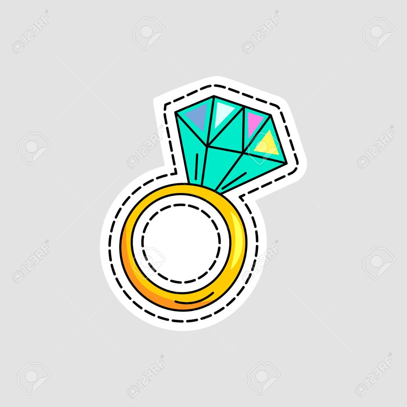 Anillo De Compromiso De Diamante En Un Estilo De Dibujos Animados