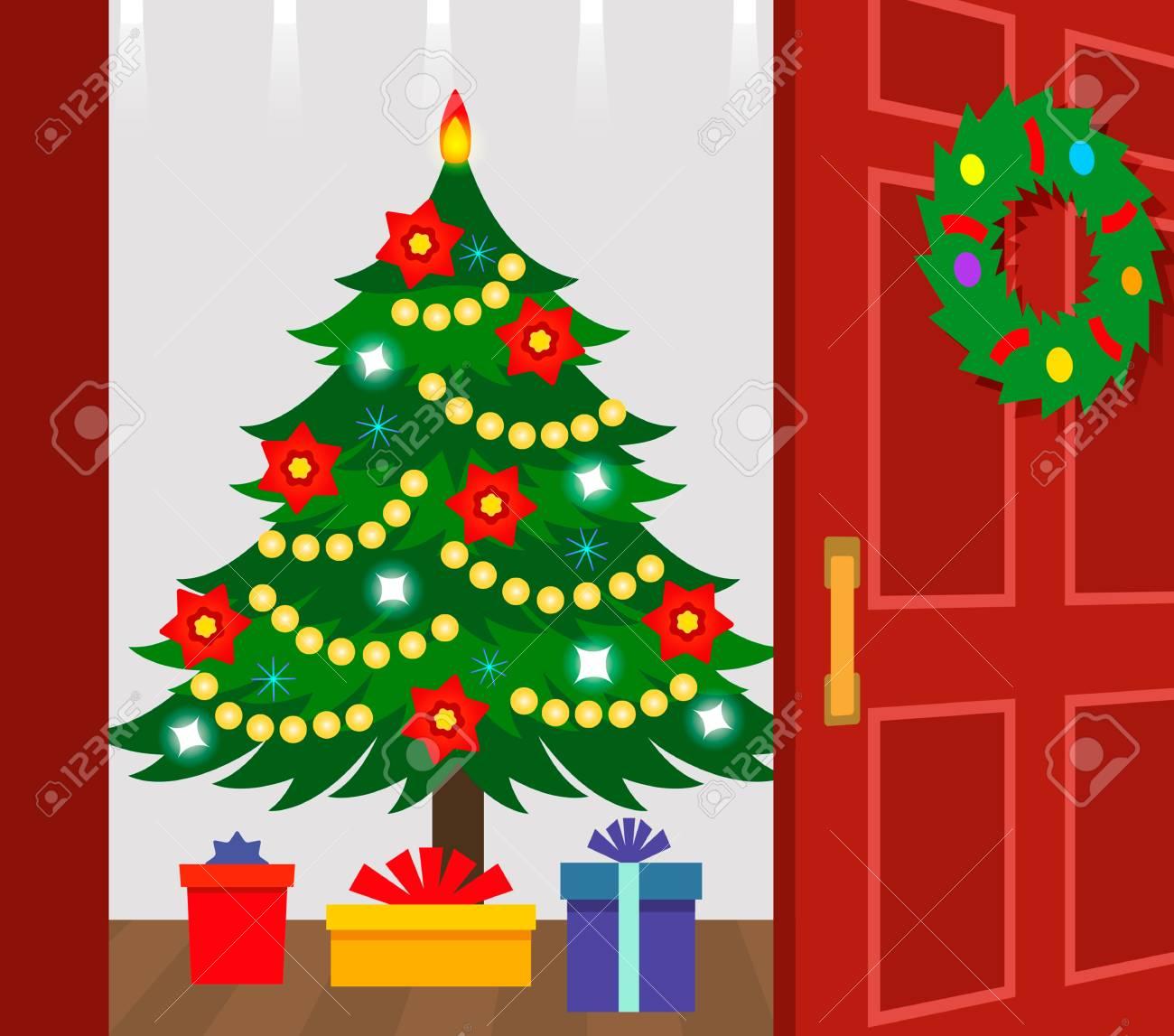 Foto Di Un Albero Di Natale.Dietro La Porta Aperta C E Un Albero Di Natale Con Regali Un Biglietto Di Auguri Festivo Illustrazione Vettoriale