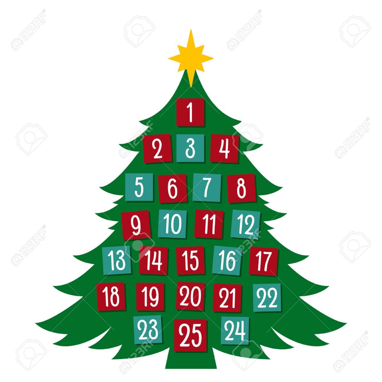 Advent calendar in a flat cartoon style. vector illustration isolated - 88921608