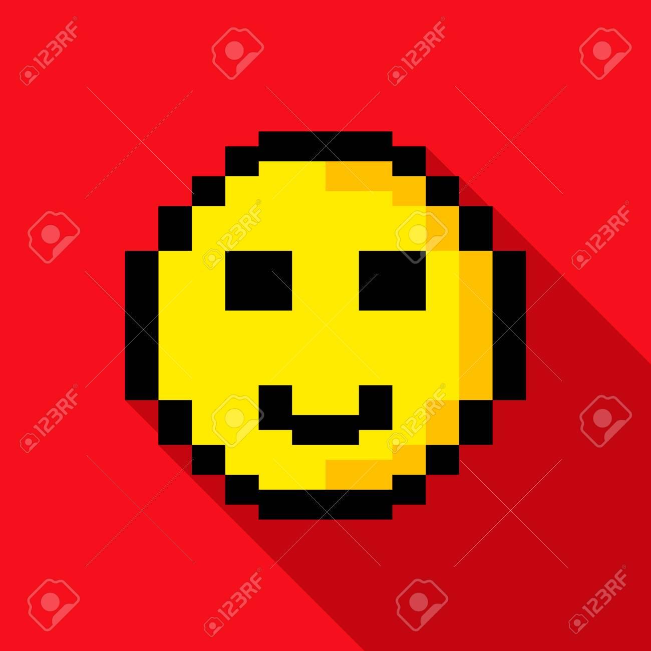 Pixel Smiley Dans Un Style De Jeu Moderne Illustration De Vecteur Plat Isolé Sur Fond
