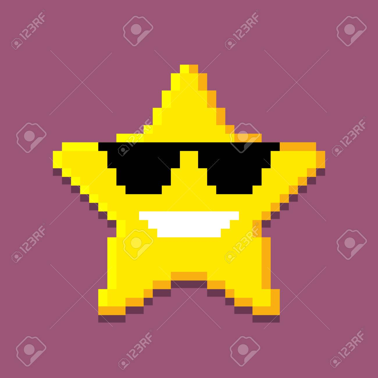 Icon Of The Pixel Star Computer Generated Illustration Isolated