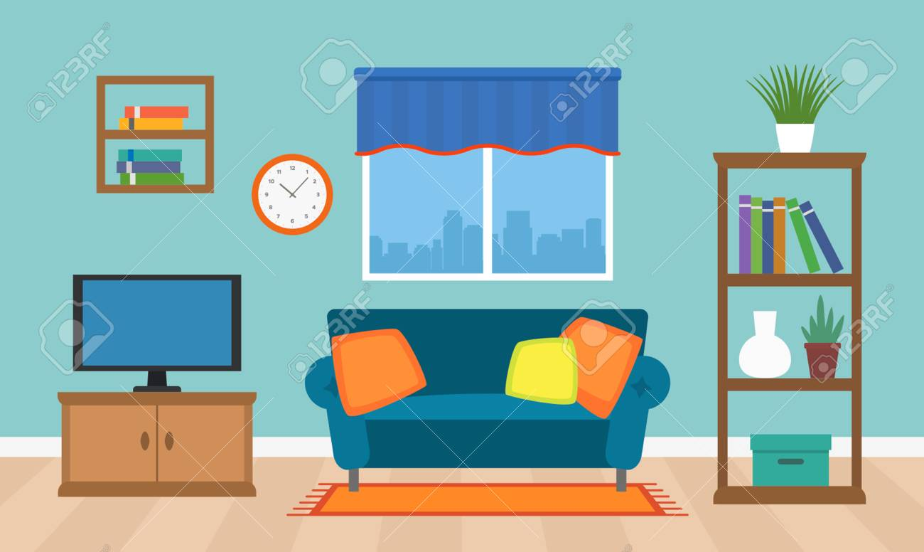 A Cozy Interior Of The Living Room With Tv Furniture And A Window Royalty Free Cliparts Vectors And Stock Illustration Image 97123505