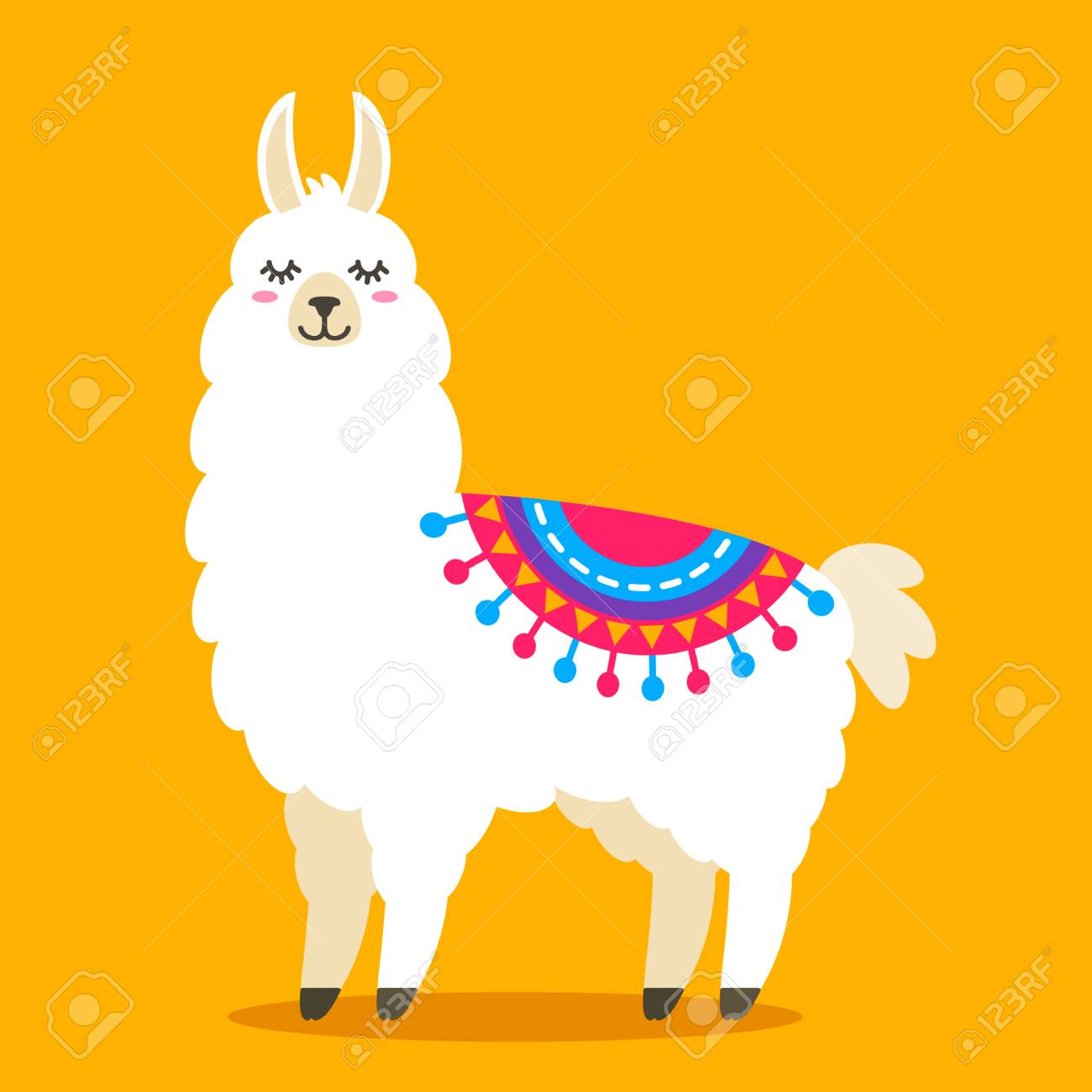 Funny Llama Alpaca In A Cartoon Style Isolated Flat Vector Illustration