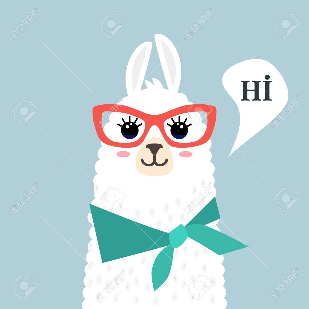 funny muzzle llama alpaca and greeting hi template for print