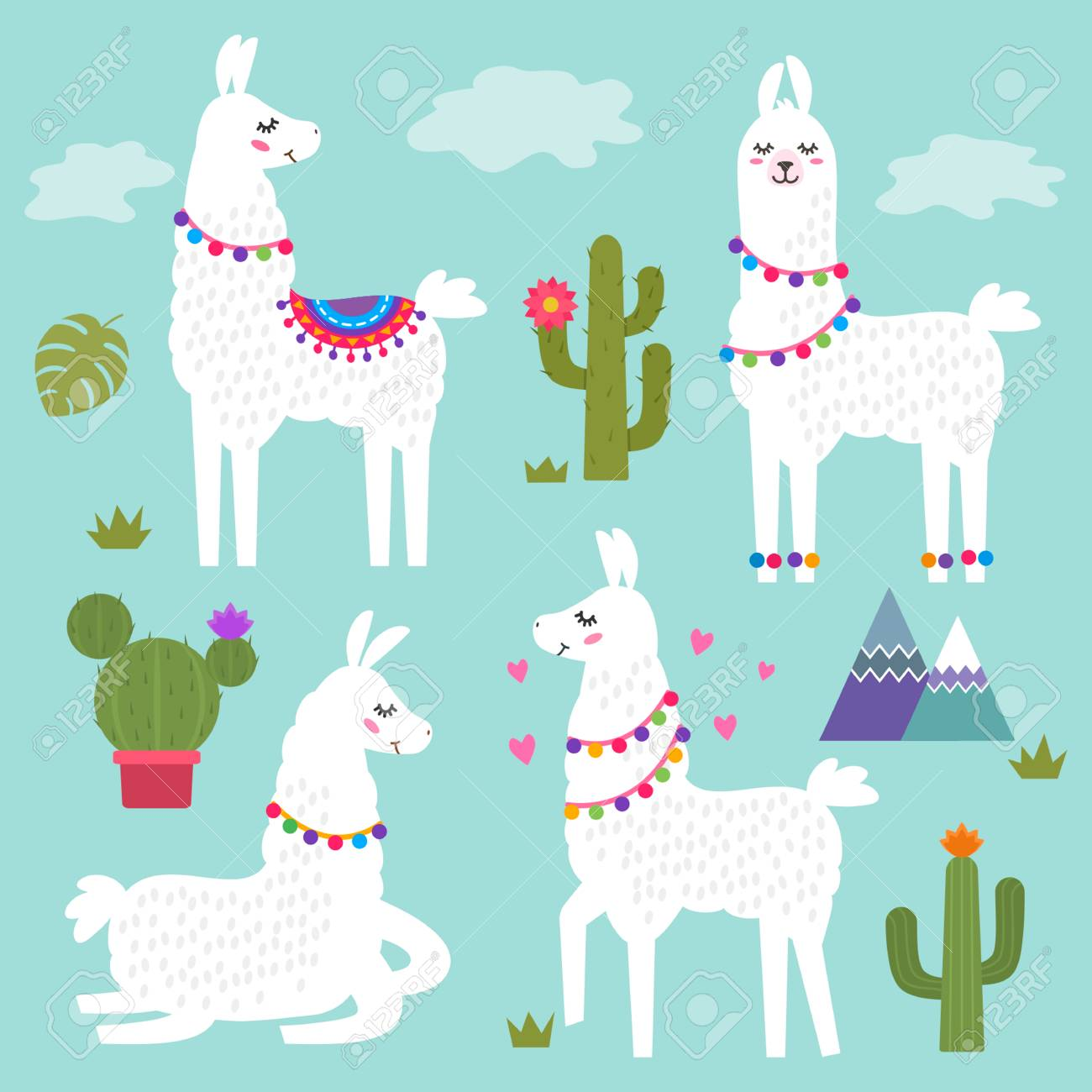 Funny Llama Alpaca With Mountains And Cactus Children S Background