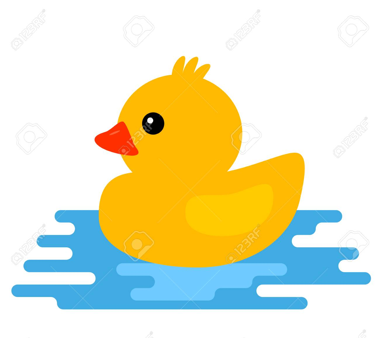 Yellow Rubber Duck Vector Illustration Of Cartoon Style Isolated On White Background