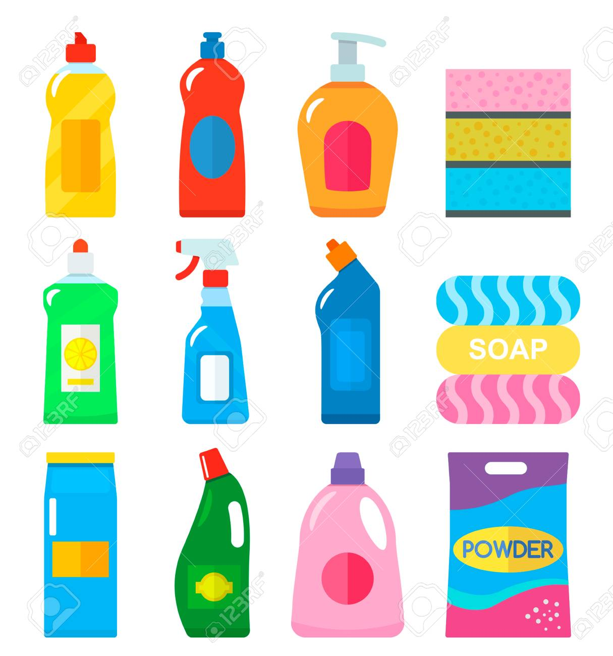 Various Household Chemical Goods For Cleaning The House, Dishes ...