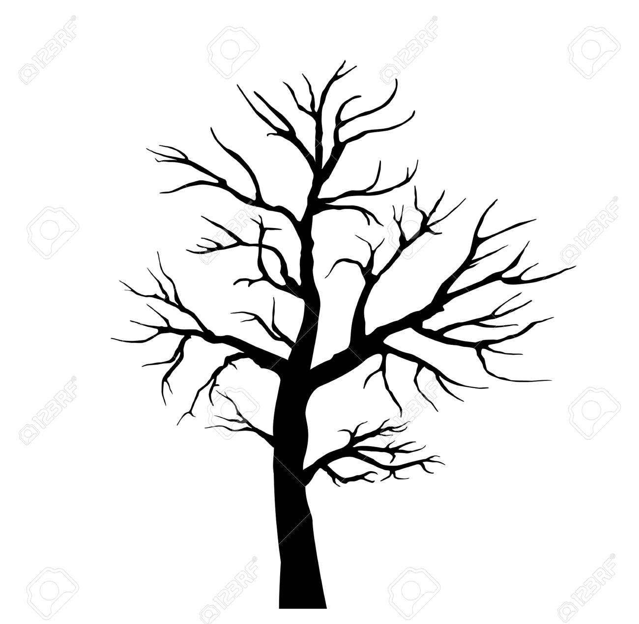 Black Silhouette Of A Tree Without Leaves Black And White