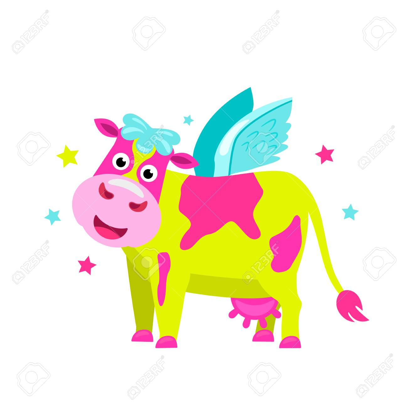 Bright lime pink cow with wings in the style of a unicorn. flat vector illustration isolated on white background - 125551712