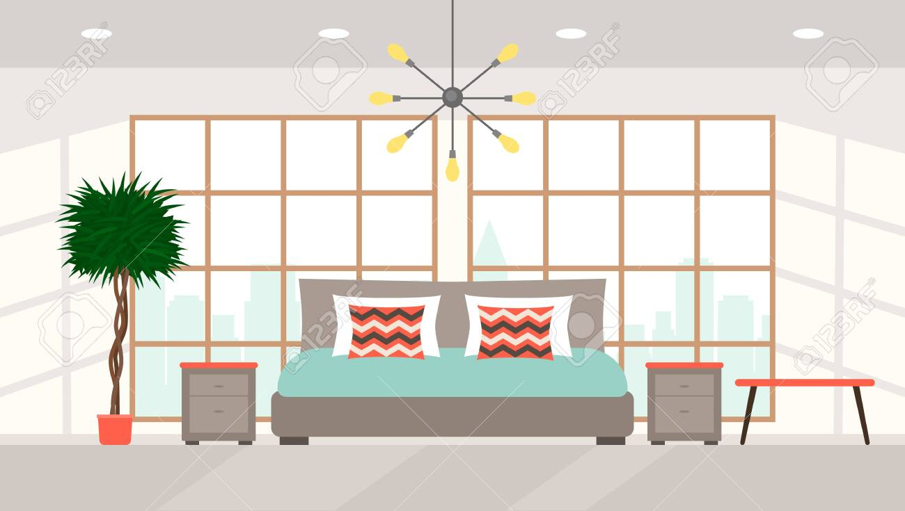 Picture of: Bedroom Interior With Large Panoramic Windows Overlooking The Royalty Free Cliparts Vectors And Stock Illustration Image 135693459