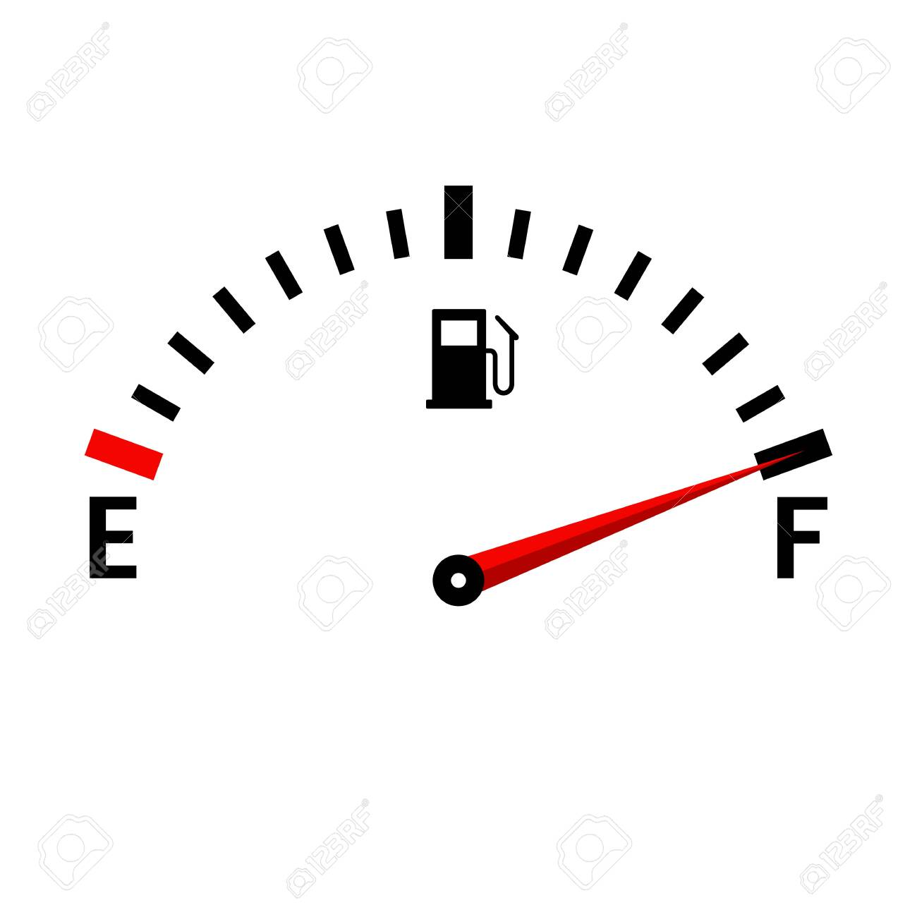 Gauge vector tank full icon. Car dashboard with fuel level in the tank. - 138542696