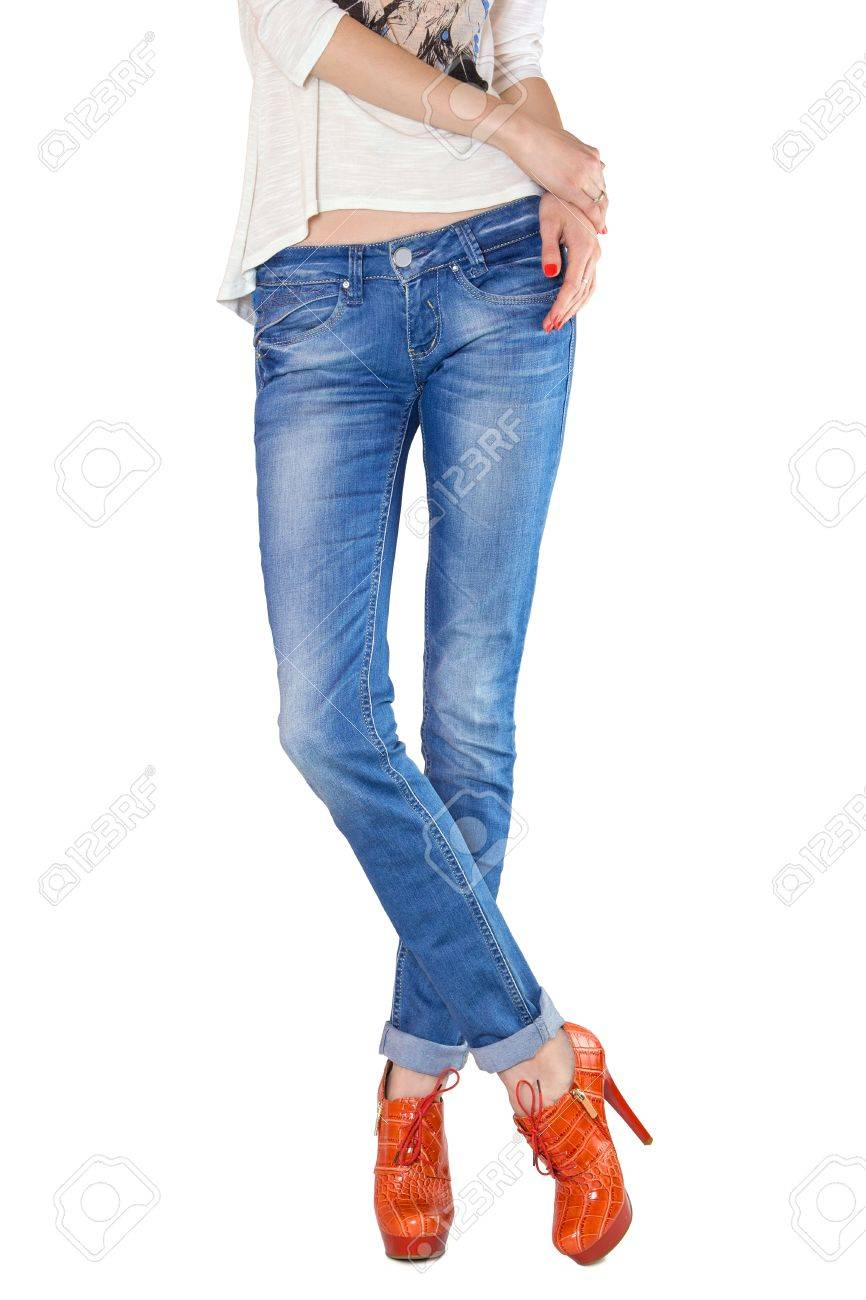 jeans, denim pants, electric blue jeans, white, high heels