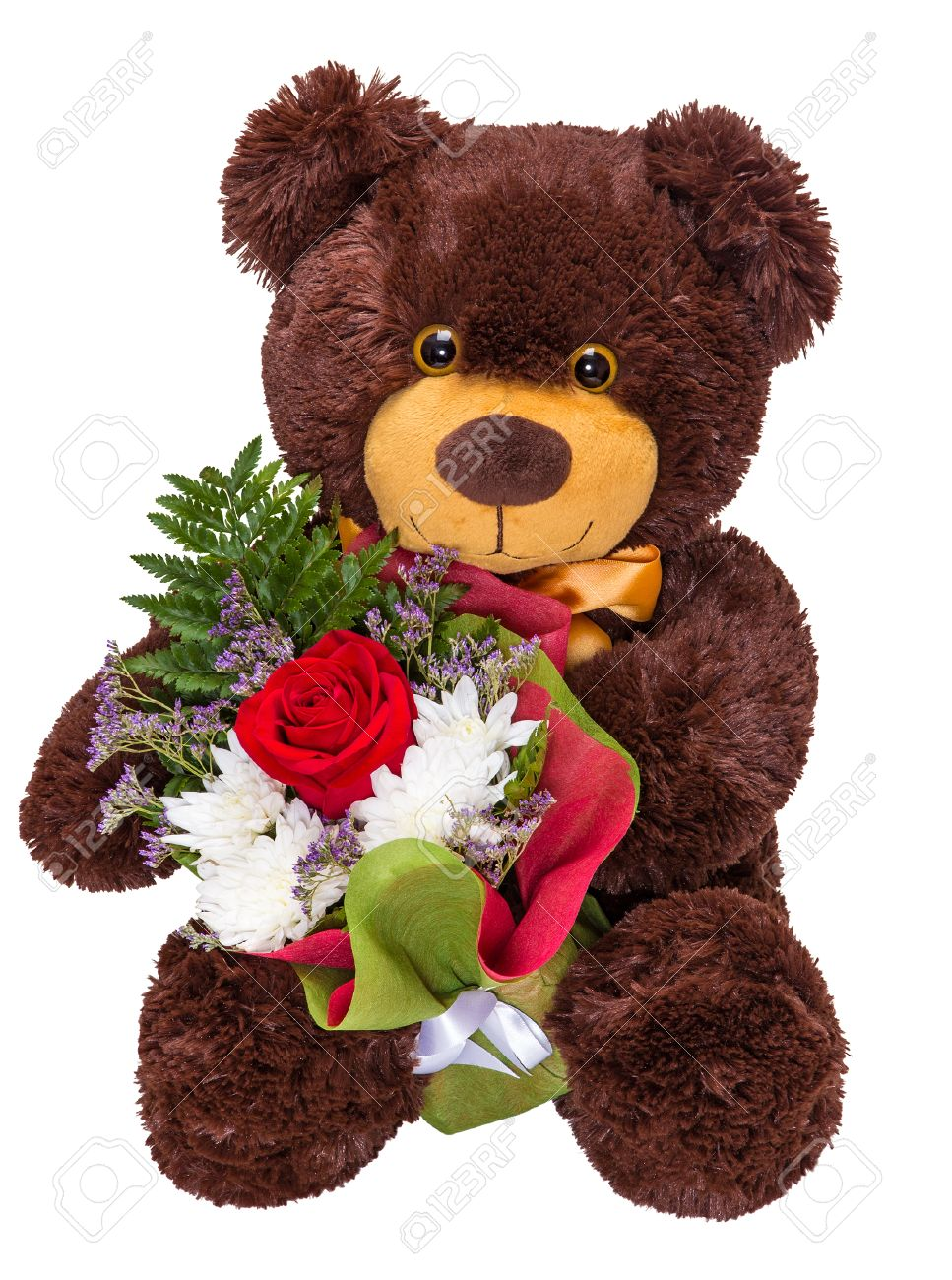 Charming Smiling Teddy Bear Holding A Bouquet Of Fresh Flowers ...