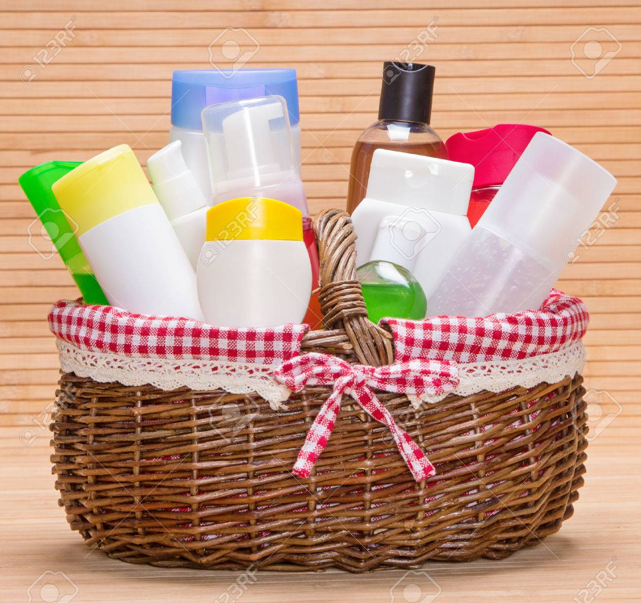 Wicker basket filled with different cosmetic products for body wicker basket filled with different cosmetic products for body care stock photo 35752203 negle Choice Image