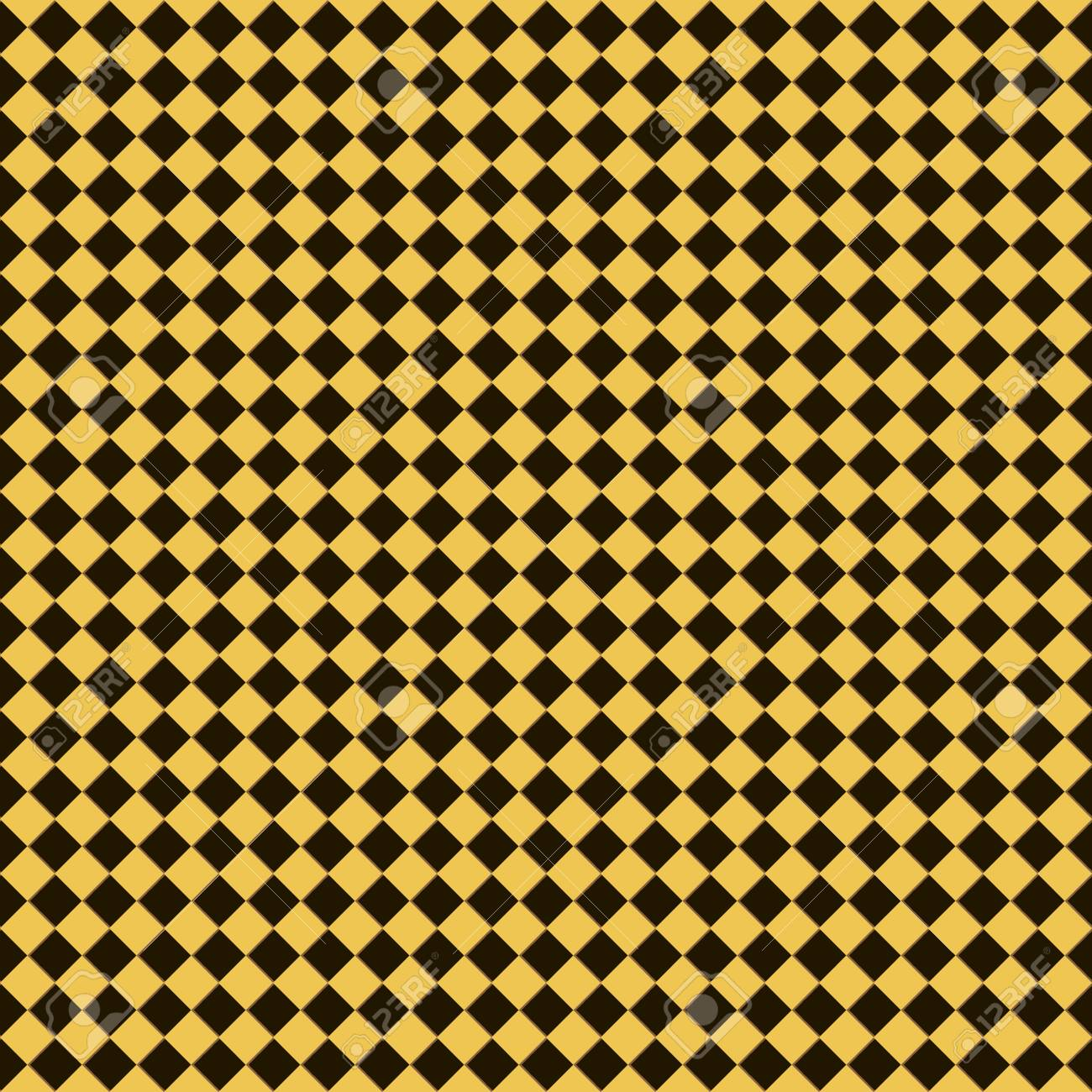 Seamless Checkered Chess Pattern In Yellow Black And Brown Colors Checkerboard Style Print