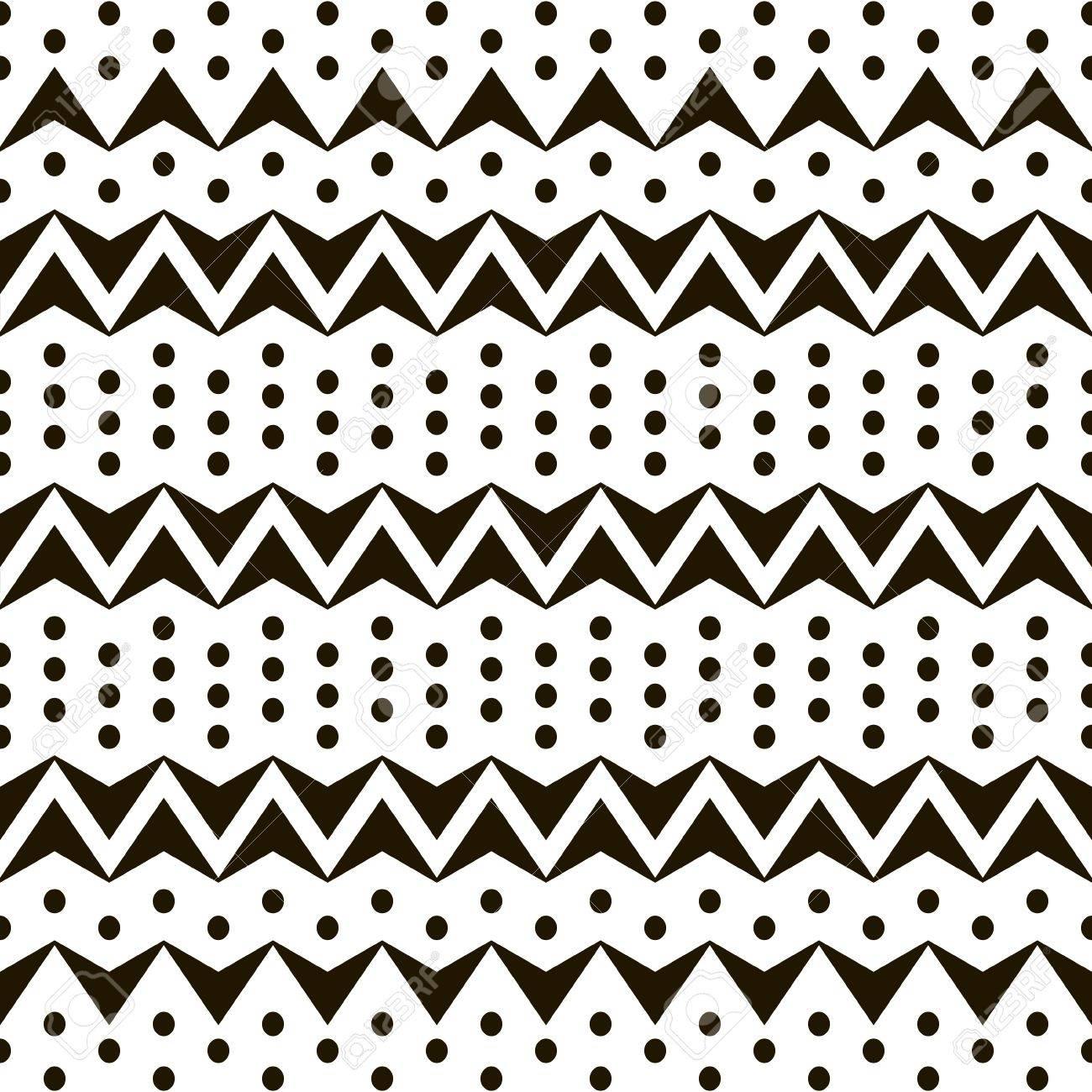 Abstrakte Nahtlose Schwarz-Weiß-Muster Aus Horizontalen Zickzacks ...
