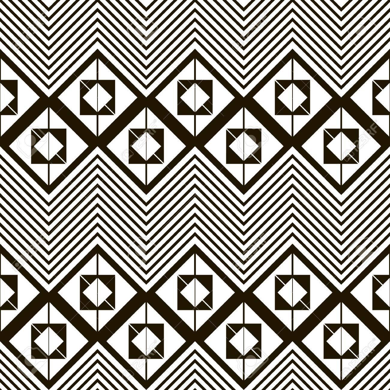 Nahtlose Schwarz-Weiß-Muster Von Horizontalen Zick-Zack. Quadrate ...