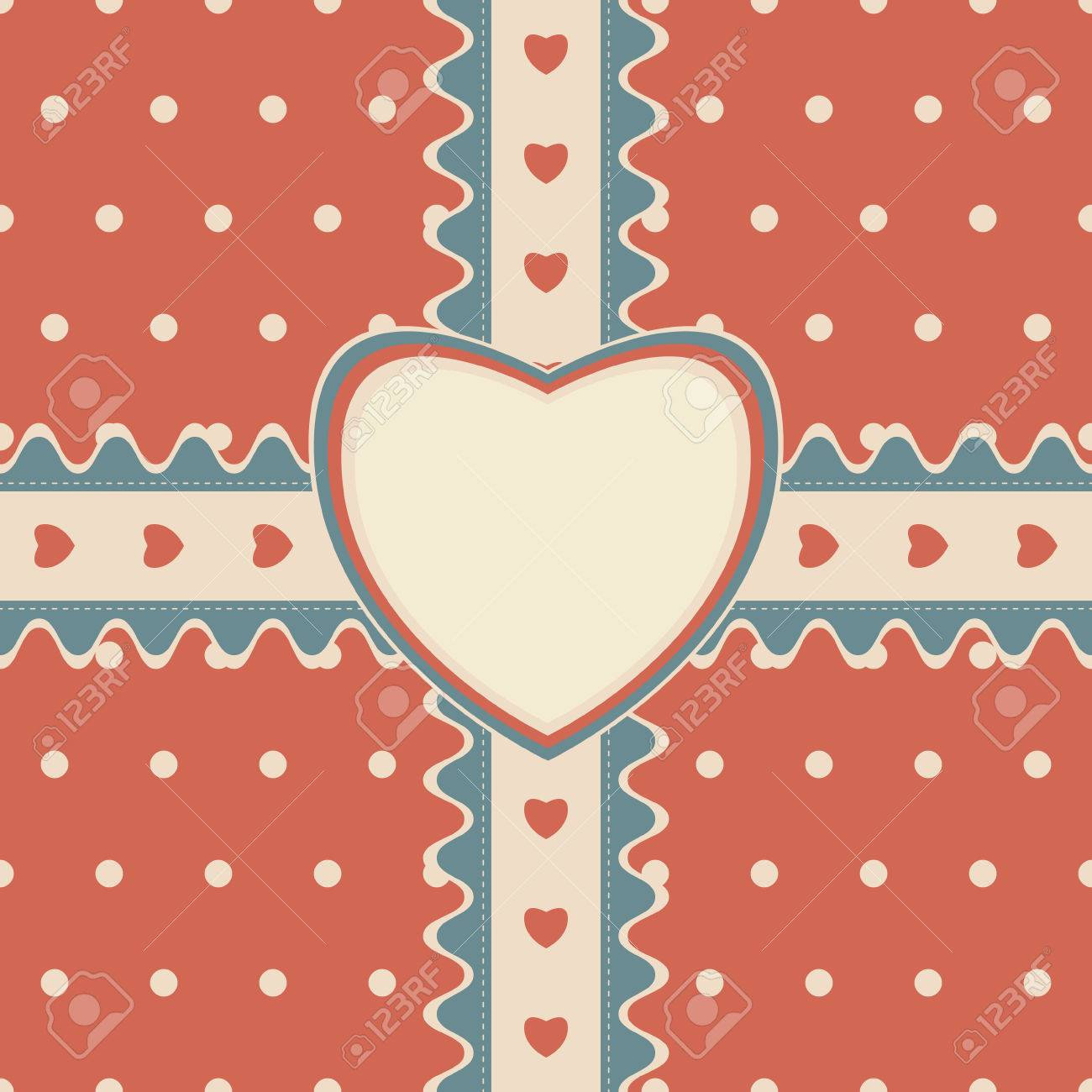 Gift design with stitched ribbon and heart shaped greeting card gift design with stitched ribbon and heart shaped greeting card on cute polka dot background m4hsunfo
