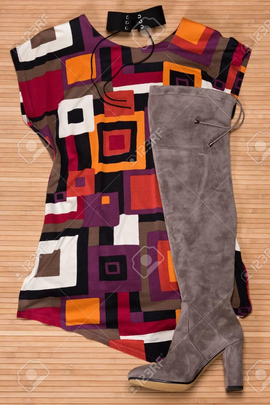 d3a8796649 Stock Photo - Fashion autumn outfit for women  asymmetrical mini dress